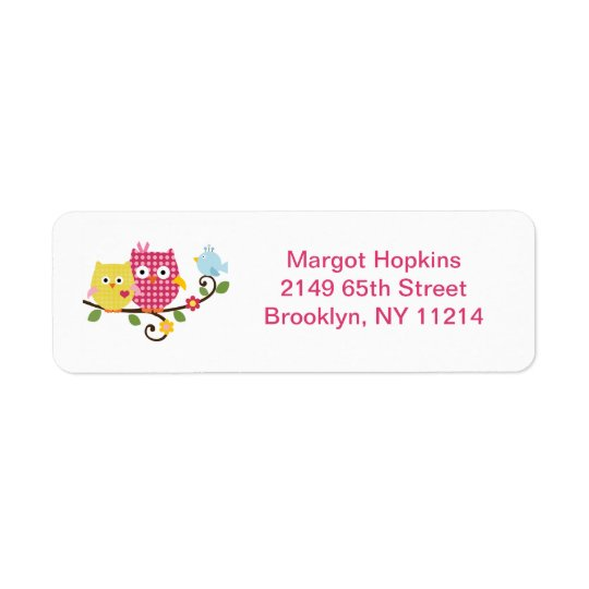 Happy Tree Owls/Birds Return Address Labels