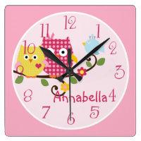 Happy Tree Owls Kid's Baby Nursery Clock