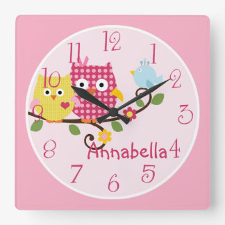 Happy Tree Owls Kid's Baby Nursery Clock
