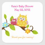 Happy Tree Owls Woodland SQUARE Favour Sticker
