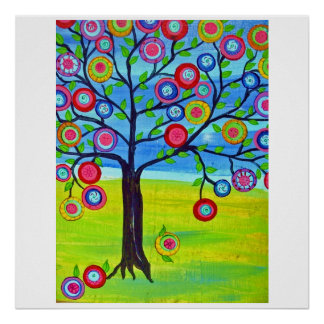 Happy Tree, Tree of life, Mexican folk art style Poster