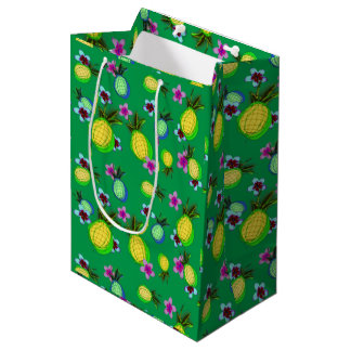 Happy tropical pineapples and frangipanis medium gift bag