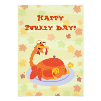 Happy Turkey Day 13 Cm X 18 Cm Invitation Card