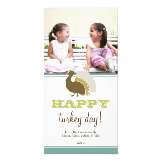 Happy turkey day blue green custom Thanksgiving Photo Card Template