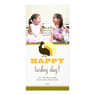 Happy turkey day orange green custom Thanksgiving Photo Card Template