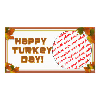 Happy Turkey Day Text Design Customised Photo Card