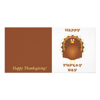 Happy Turkey day Thanksgiving Custom Photo Card