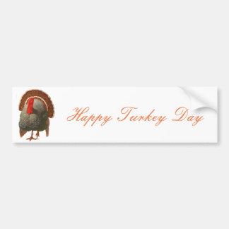 Happy Turkey Day Vintage Turkey Bumper Sticker