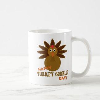Happy Turkey Gobble Day Thanksgiving Basic White Mug