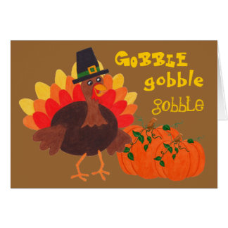 Happy Turkey Pumpkins - Greeting Card