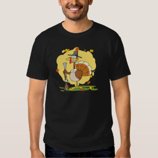 Happy Turkey With Pilgrim Hat and Musket Tshirt