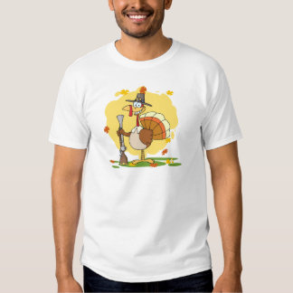 Happy Turkey With Pilgrim Hat and Musket Tshirts
