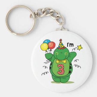 Happy Turtle 3rd Birthday Key Chain