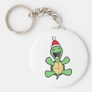 Happy Turtle Christmas Basic Round Button Key Ring