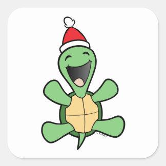 Happy Turtle Christmas Square Sticker
