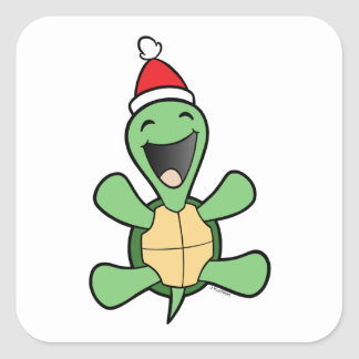 Happy Turtle Christmas Square Stickers