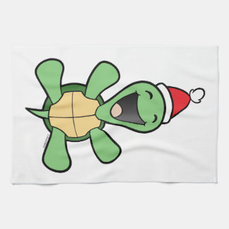 Happy Turtle Christmas Tea Towel