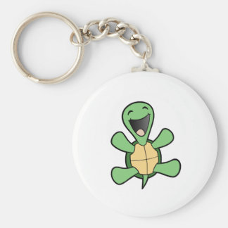 Happy Turtle Basic Round Button Key Ring