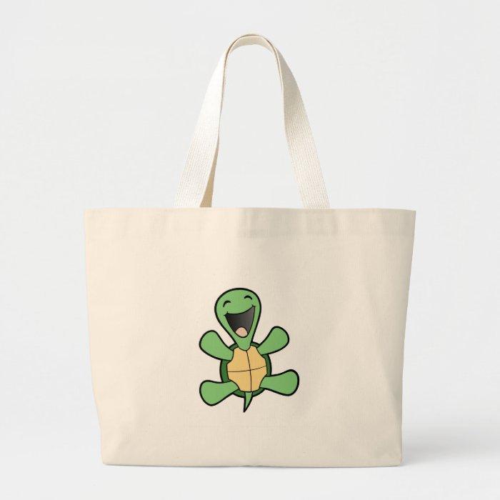 Happy Turtle Large Tote Bag