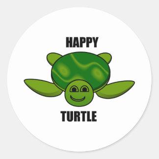 Happy turtle round sticker