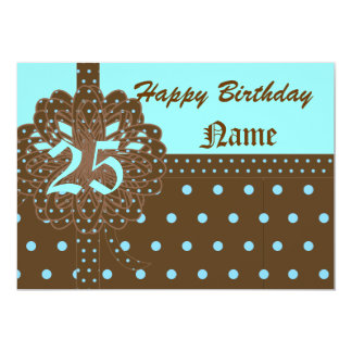 Happy Twenty-Fifth Birthday Gift Invitation-Cust. 13 Cm X 18 Cm Invitation Card