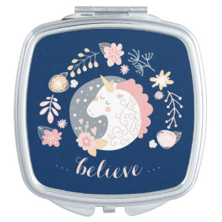 Happy Unicorn Cute Inspiring Believe Compact Mirrors