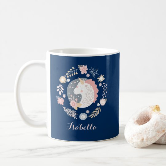 Happy Unicorn Cute Personalised Navy Coffee Mug