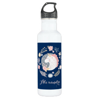 Happy Unicorn Cute Personalized Navy 710 Ml Water Bottle