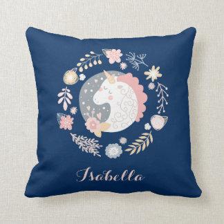 Happy Unicorn Cute Personalized Navy Cushion