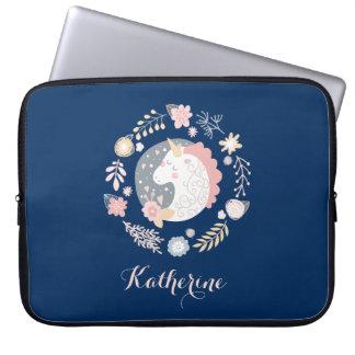 Happy Unicorn Cute Personalized Navy Laptop Sleeve