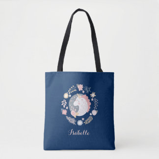 Happy Unicorn Cute Personalized Navy Tote Bag