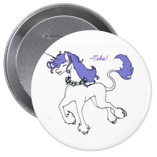Happy Unicorn prancing purple Pins