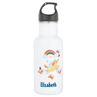 Happy Unicorn with Rainbow Clouds and Flowers 532 Ml Water Bottle