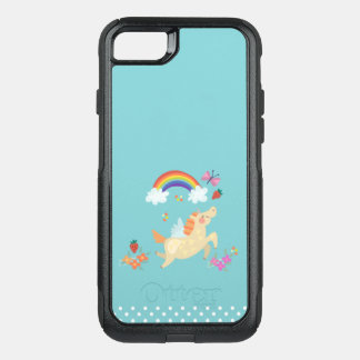 Happy Unicorn with Rainbow Clouds and Flowers OtterBox Commuter iPhone 7 Case