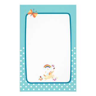 Happy Unicorn with Rainbow Clouds and Flowers Personalized Stationery