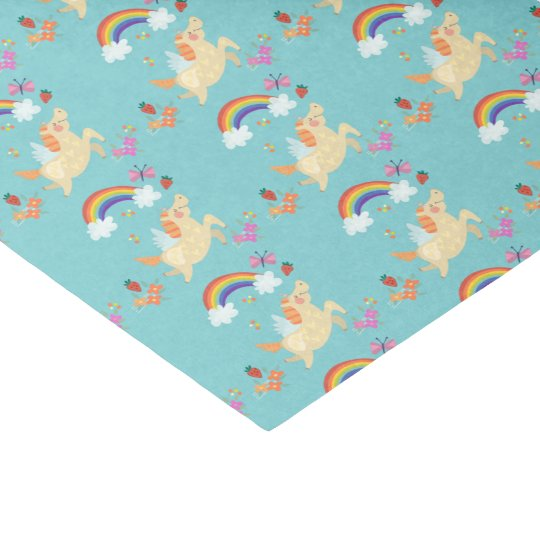 Happy Unicorn with Rainbow Clouds and Flowers Tissue