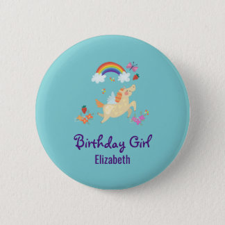 Happy Unicorn with Rainbow Clouds Birthday Girl 6 Cm Round Badge