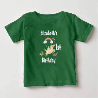 Happy Unicorn with Rainbow Clouds First Birthday Baby T-Shirt