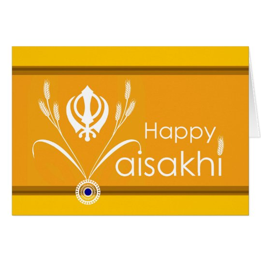 Happy Vaisakhi, Sikh Khanda Symbol with Wheat Card