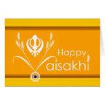 Happy Vaisakhi, Sikh Khanda Symbol with Wheat Greeting Card