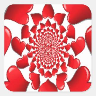 Happy Valentine Big Red Hearts Square Sticker