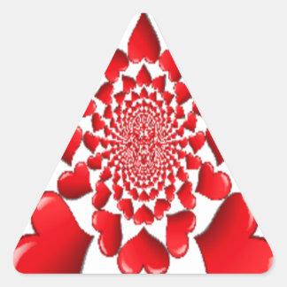 Happy Valentine Big Red Hearts Triangle Stickers