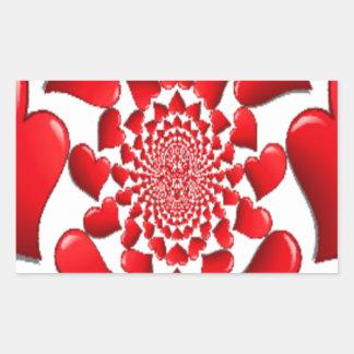 Happy Valentine Big Red Hearts Rectangular Stickers