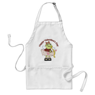 Happy Valentine Frog Bow and Arrow Standard Apron