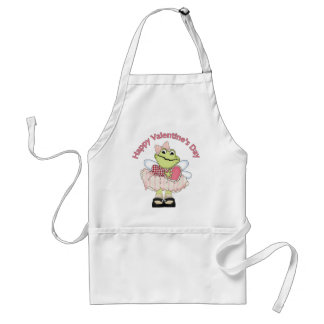 Happy Valentine Frog with Heart Standard Apron