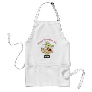 Happy Valentine Frog with Red Heart Standard Apron