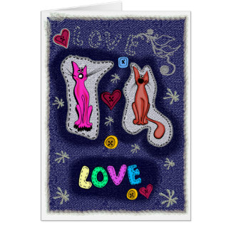 Happy Valentine from Felid friends Greeting Card