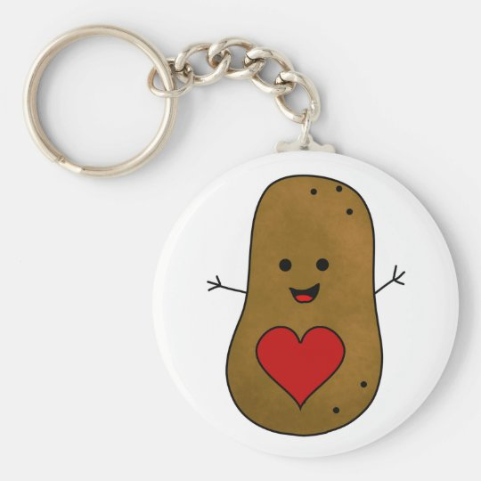 Happy Valentine Potato, Love and Hearts Key Ring