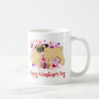 Happy Valentine Pug Kissing Tees Coffee Mug