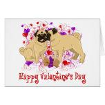 Happy Valentine Pug Kissing Tees Greeting Card